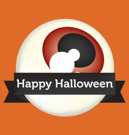 Happy Halloween Eyeball Banner Vector