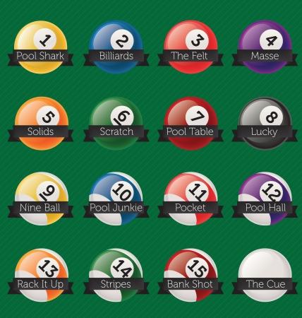 pool halls: Vector Set  Billiards Banner Labels
