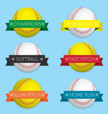 softball: Vector Set  Softball Banner Labels Illustration