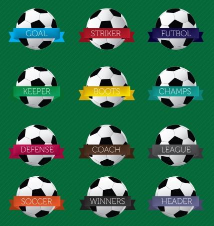 futbol soccer: Soccer Futbol Banner Labels