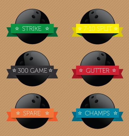 lanes: Vector Set: Bowling Ball Banner Label Set