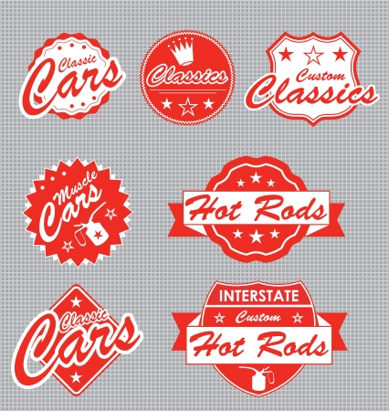 coche antiguo: Juego: Classic Car Etiquetas musculares Vectores