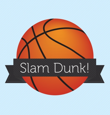 Basketball with Slam Dunk Banner Wrapped Around It Vector