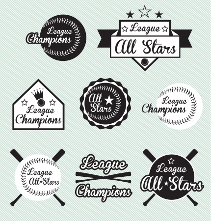 Vector Set: All Star and League Champs Labels Vector