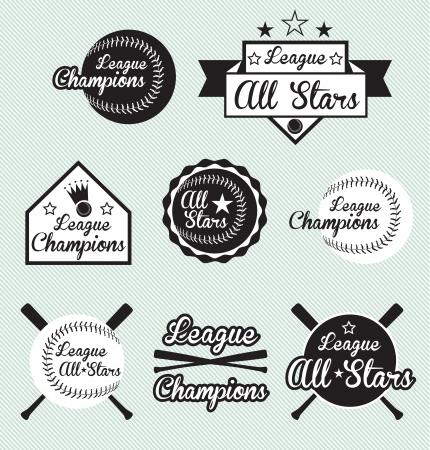 beisbol: Vector Set: All Star y etiquetas Liga Campos