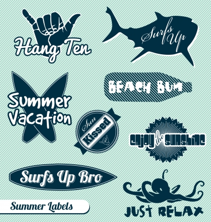 surfboard: Vector set of summer beach labels Illustration