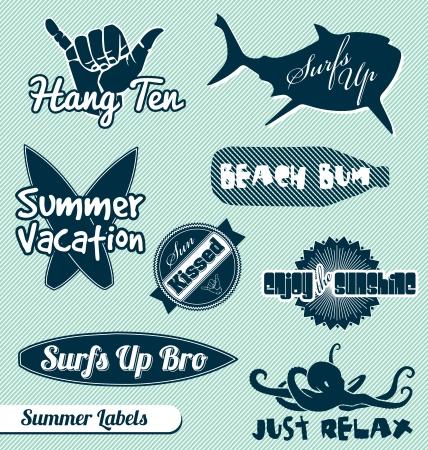Vector set of summer beach labels Illustration