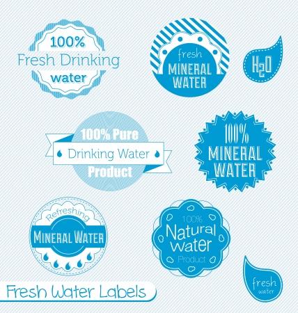 아쿠아: 식수의 벡터 설정 및 미네랄 워터 라벨