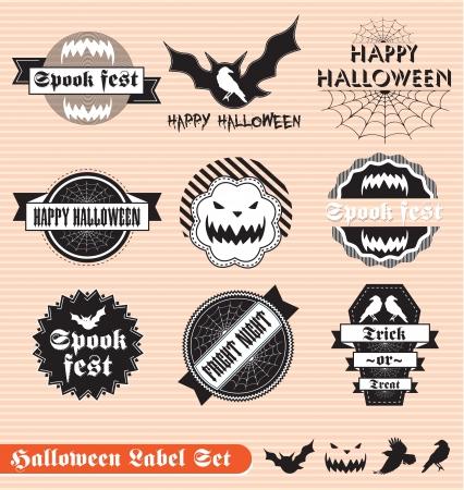 Vector Set of Labels for Halloween
