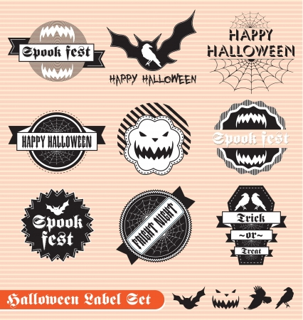 retro sticker: Vector Set of Labels for Halloween