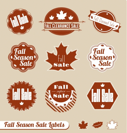 Vector Set of Fall Season Sale Labels Vector