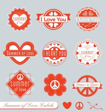 사랑 레이블의 여름의 벡터 설정