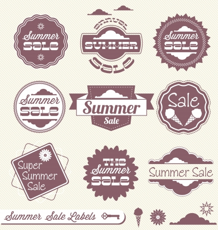 Set of Summer Sales Labels Vector