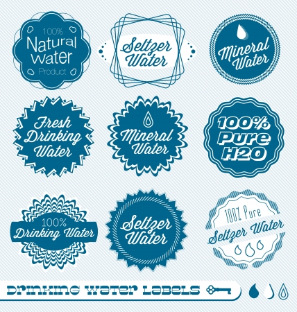 bottled water: Set of Labels For Drinking Water