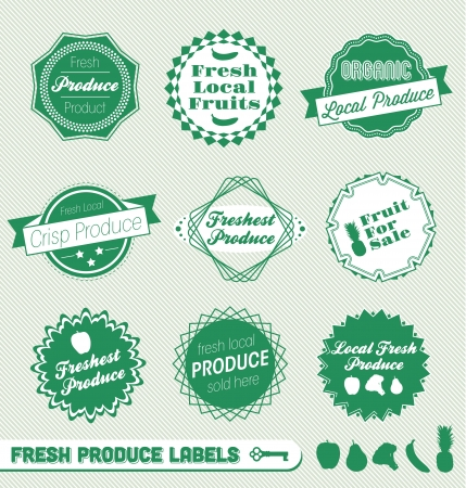 Set: Organic Fresh Produce Labels Vector