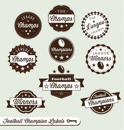 banni�re football: Set: Champion du football et �tiquettes Gagnant Illustration