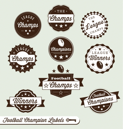 Set: Football Champion and Winner Labels Vector