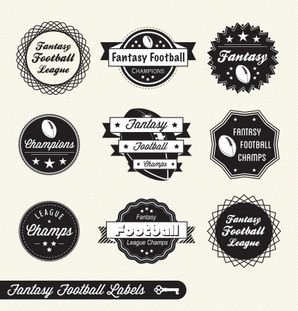 nfl: Set of Fantasy Football League Champion Labels Illustration