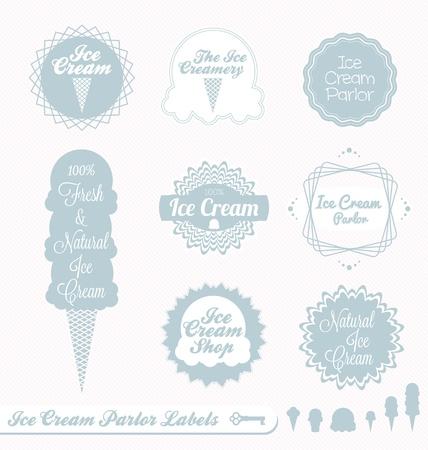 helados en cono: Vector set Ice Cream Parlor Etiquetas Vectores