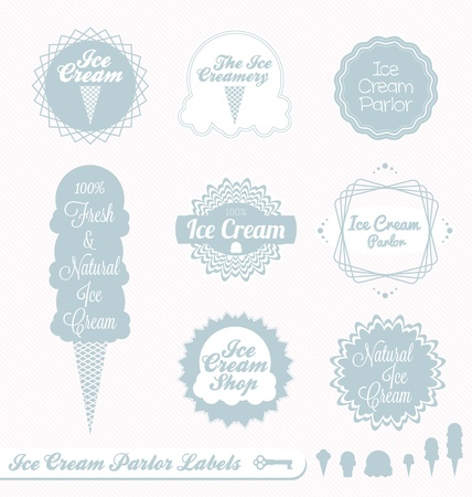 ice cream cone: Vector Set  Ice Cream Parlor Labels