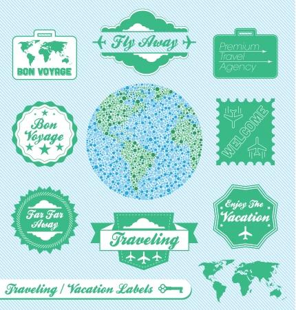 voyage: Vector Set: Agence de voyage et les étiquettes de vacances