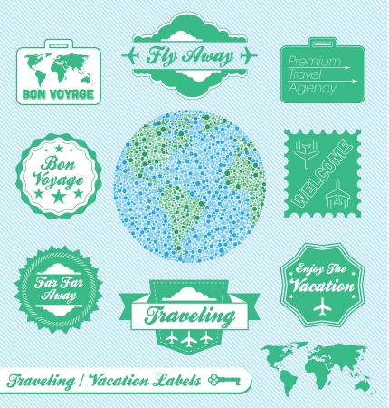 agencia de viajes: Vector Set: Agencia de Viajes y etiquetas de vacaciones