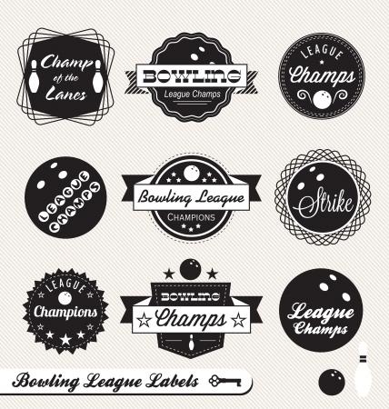 Set: Bowling League Champs etichette Archivio Fotografico - 14508452