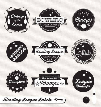 alleys: Set: Bowling League Champs Labels Illustration
