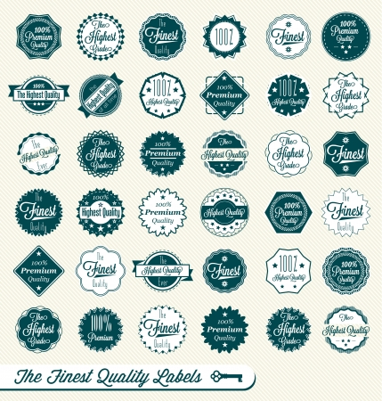 gratification:  Finest Quality and Premium Quality Labels Illustration