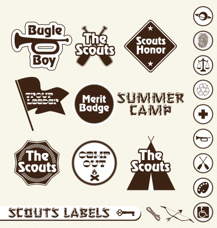 cubs: Boy Scout Merit Badge and Camping Labels Illustration