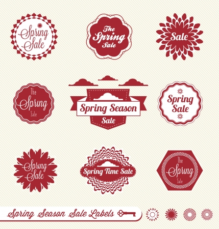 Set  Spring Season Sale Labels Vector