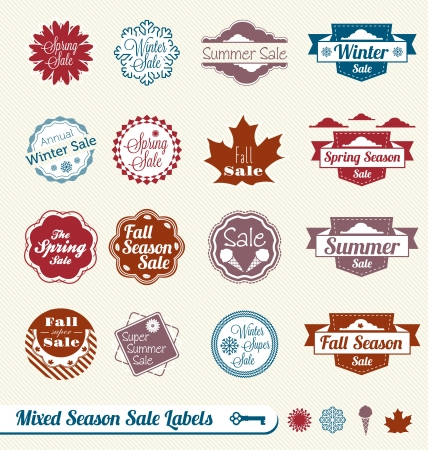 Set  Mixed Seasonal Shopping Sale Labels Vector