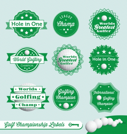 Golf Champion and Winner Labels Vector