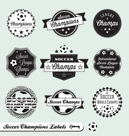 Soccer Champs Labels Stock Vector - 14591554