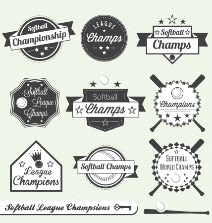 baseball diamond: Softball League Champs Labels Illustration