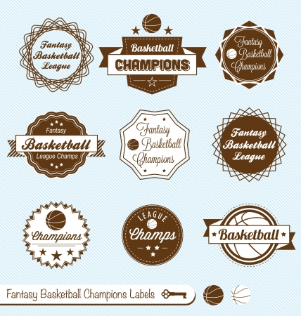 nba: Vector Set  Vintage Style Fantasy Basketball Labels Illustration