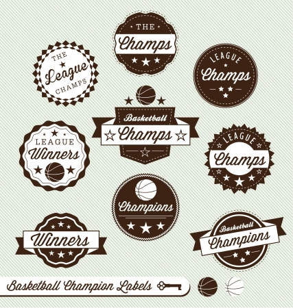 Vector Set  Vintage Style Basketball Labels