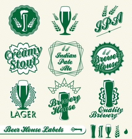 Vector Set: Brewery House Beer Labels Çizim