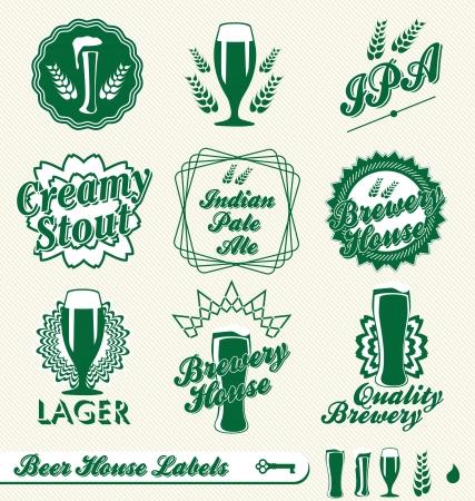 cerveza negra: Vector Set: Cervecería Etiquetas Beer House