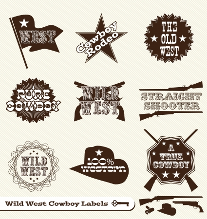 cowboy gun: Set: Etiquetas Cowboy and Wild West y pegatinas Vectores