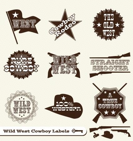 american rodeo: Set: Etiquetas Cowboy and Wild West y pegatinas Vectores