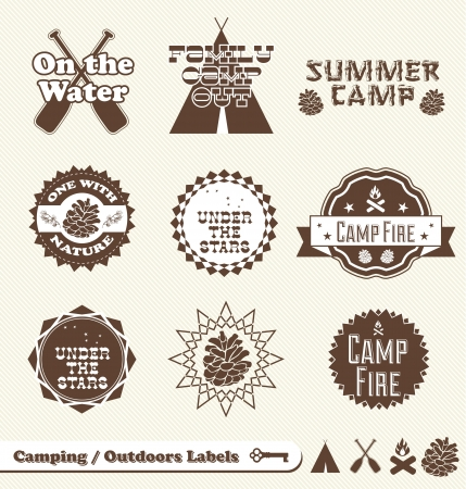 Vector Set  Camping and Outdoor Labels and Stickers Illusztráció