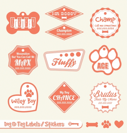 dog tag: Vector Set: Dog and Pet ID Tag Labels and Stickers