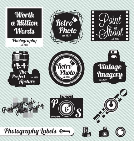 ベクトルの集合写真とビンテージ カメラ ラベル
