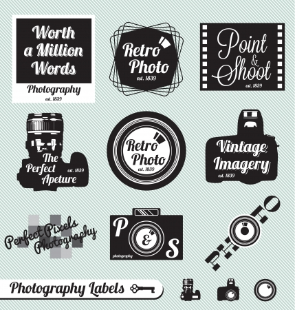 vintage camera: Vector Set  Photography and Vintage Camera Labels