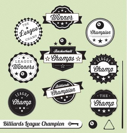 compromiso: Vector Set: Billar y etiquetas Champ Sal�n
