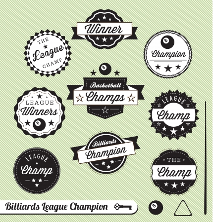 pool hall: Vector Set: Billiards and Pool Hall Champ Labels Illustration
