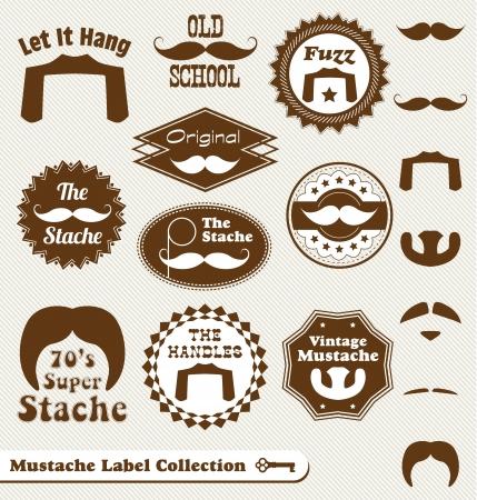 벡터 설정 : 콧수염과 수염 빈티지 레이블