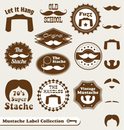 Vector Set: Mustache and Beard Vintage Labels Vector