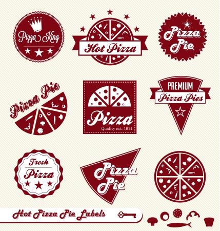 벡터 설정 : 피자 장소 라벨 및 스티커 일러스트